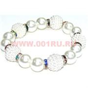"""Браслет """"Ягода и бусины"""" (HR-692) цвет белый, цена за 12 шт/уп"""