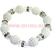 """Браслет """"Ягода,стразы и кристалл"""" (S-820) цвет белый, цена за 12 шт/уп"""