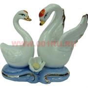 Два лебедя со стразами мини, фарфор