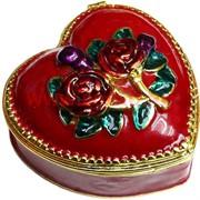 """Шкатулка со стразами """"Красное сердце с двумя розами"""""""