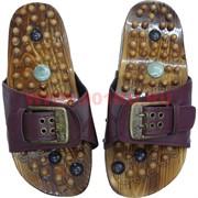 Тапочки массажные с нефритом (размер 44) с металл. пряжкой