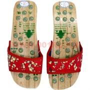 Тапочки массажные деревянные (размер 35) со вставками из нефрита