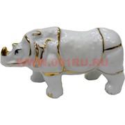 Носорог из белого фарфора малый (8,5 см длина)