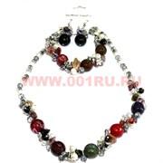 Набор:бусы, браслет, серьги из натур. камня 45 см турмалин