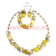 Набор:бусы, браслет, серьги из натур. камня 45 см желтый агат