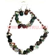 Набор:бусы, браслет, серьги из натур. камня 45 см яшма