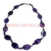 Бусы из натур.агата 60 см фиолетовый цвет