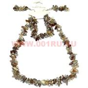 Набор:бусы, браслет, серьги из натур. камня 45 см бразильский агат