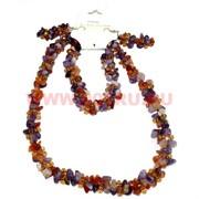 Набор:бусы, браслет, серьги из натур. камня 45 см аметист и сердолик