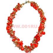 """Бусы """"Ёжик"""" из натурального камня 45 см оранжевый коралл"""