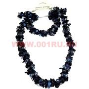 Набор:бусы, браслет, серьги из натур. камня 45 см синий авантюрин