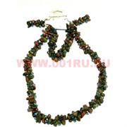 Набор:бусы, браслет, серьги из натур. камня 45 см зеленая яшма