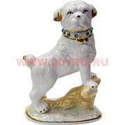Собака из фарфора (мопс) 19 см символ 2018 года