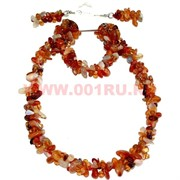 Набор:бусы, браслет, серьги из натур. камня 45 см сердолик