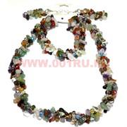 Набор:бусы, браслет, серьги из натур. камня 45 см ассорти камней