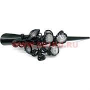 """Зажим для волос (CJ2-854) """"утка"""" цветок, цена за 12 штук (цвет черный)"""