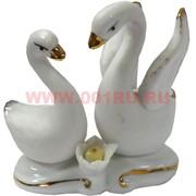Пара лебедей мини, белый фарфор