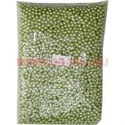 Жемчужины бусы для рукоделия 6 мм (P-56) салатовый перламутр 500 гр