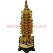"""Нецкэ, пагода """"под золото"""" из полистоуна 14 см"""