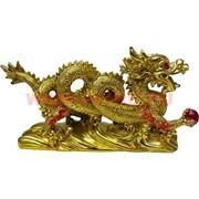 Дракон из полистоуна с жемчужиной (14 см высота) под золото