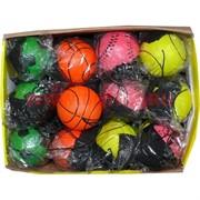 Мячик прыгающий резиновый 60 мм со шнурком, цена за 24 шт