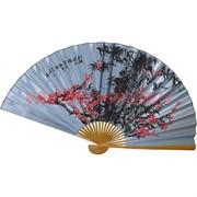 Веер 90 см шелковый голубой (рисунки в ассортименте)