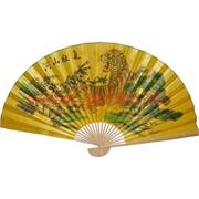 Веер 90 см шелковый желтый (рисунки в ассортименте)
