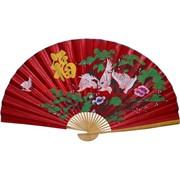 Веер 90 см шелковый красный (рисунки в ассортименте)