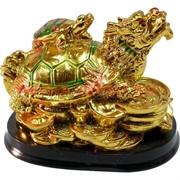 """Черепаха-дракон """"под золото"""" на подставке"""